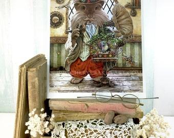 Rabbit Steampunk Art Print - Steampunk Animal - Rabbit Art - Boys Nursery Art - Woodland Print - Rabbit Fine Art - Rabbit Cottage Decor