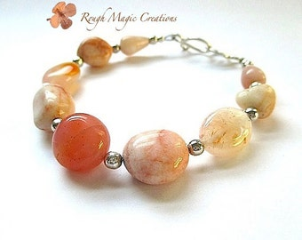 Peaches & Cream Gemstone Bracelet. Sterling Silver Semi Precious Stones. Chunky Jasper, Botswana Agate, Orange Carnelian. Stackable Bracelet
