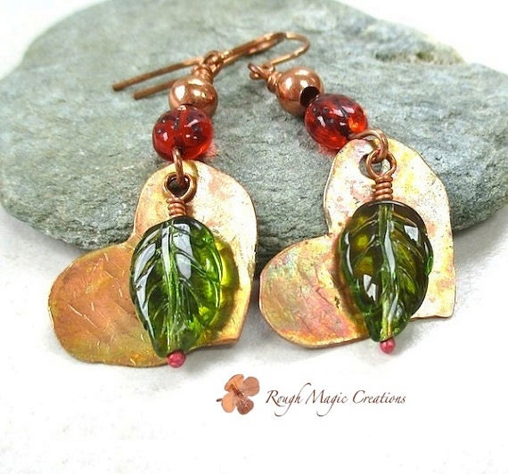 Red & Green Copper Earrings, Colorful Hearts Leaves Ladybugs, Long Dangles, Large Earrings, Woodland Statement Jewelry, Gift for Women  E190