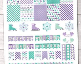 DIY Printable Planner Stickers Winter Ice Skating Purple Planner Sticker Set Weekend Banners Flags Ice Skates Snowflakes