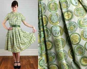 SALE- Vintage Green Coin Print Dress