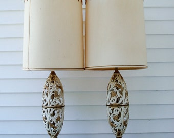 Stunning metal lamp - extremely large - with shade