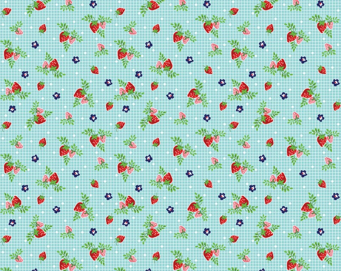 Vintage Market Riley Blake cotton fabric - Vintage Strawberries VM4566 Aqua, select a length