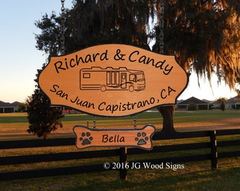Redwood Cedar RV Camping Sign - Motorhome w/ dogbone with pawprints - Family Name Sign JG Wood Signs Campsite Name Sign RichardCandy