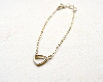 Island Bracelet - silver triangle bracelet, delicate geometric jewelry, triangle bracelet, stocking stuffer, petite triangle charm bracelet