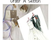 Wedding Day Gift To The Bride From The Groom -  Wedding Gift From The Groom - Dreamlines Wedding Dress Sketch [Full Front & Full Back]
