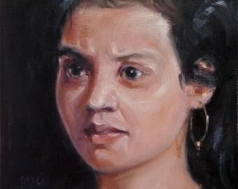 "REMEMBERING, original art, Custom oil Portrait Painting by puci, 8x10"""