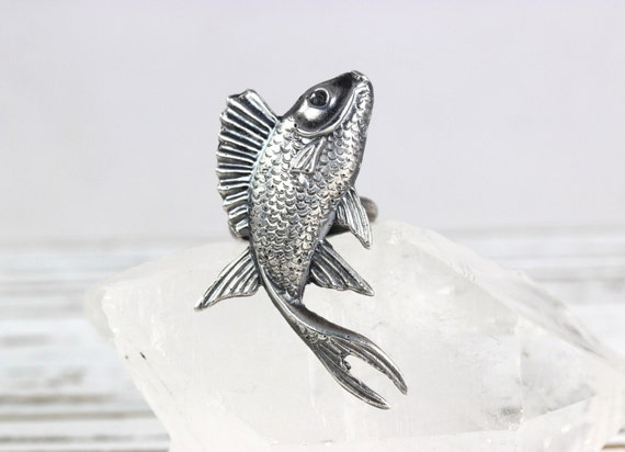 Sterling silver fish ring sterling silver by deergirldesigns for Silver koi fish