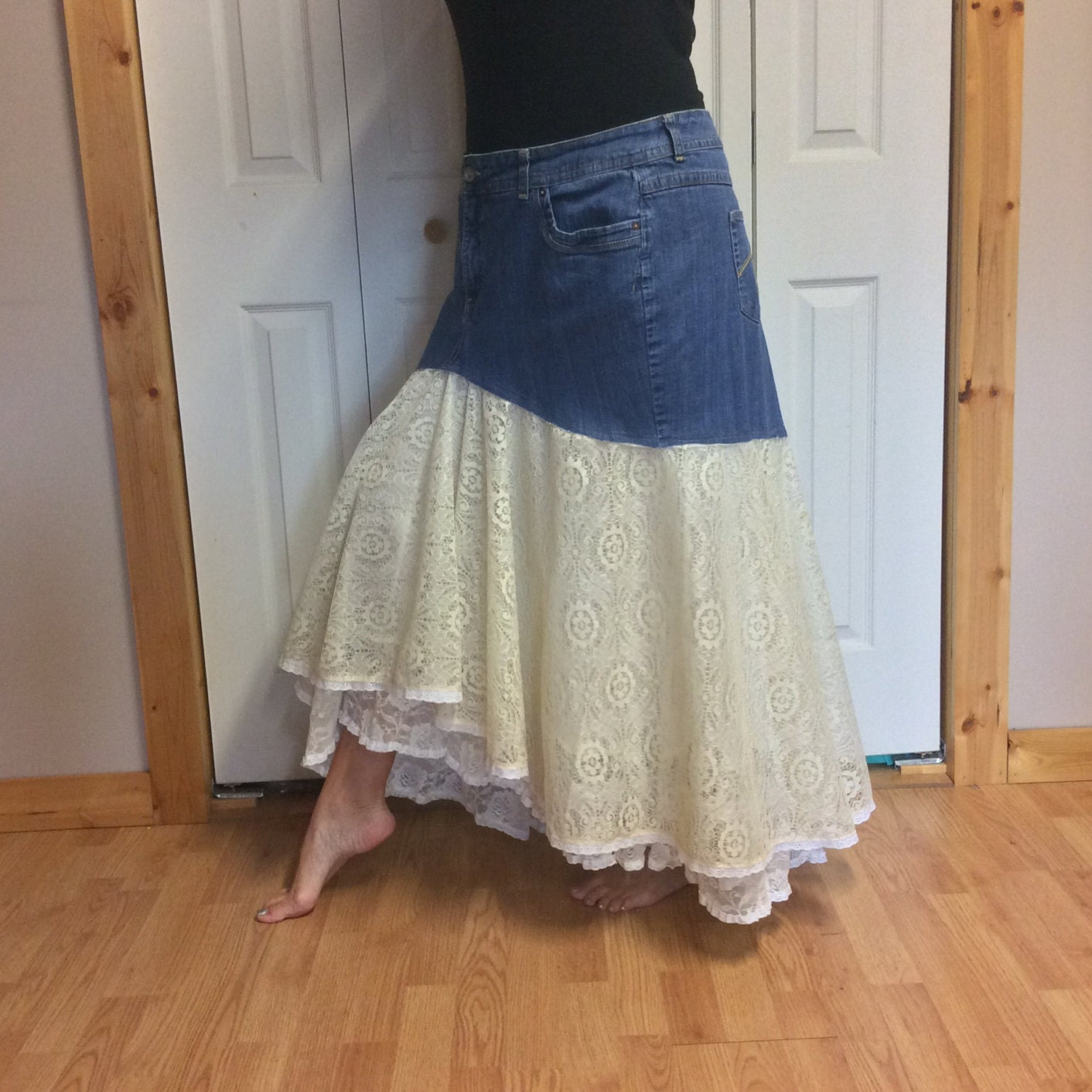 plus size denim lace skirt 3x blue jean skirt