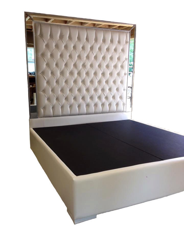 White faux leather king size platform bed queen by newagainuph