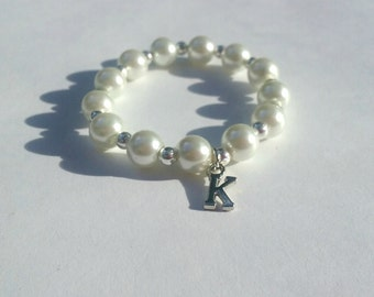 Baby, Newborn Pearl Bracelet with Silver Initial, Sterling Silver Plated, Stretch Bracelet