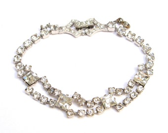 VINTAGE Rhinestone BRACELET Crystal Link 1930s 1940s Art Deco Prong Set Old Jewelry