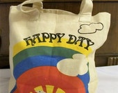 Vintage Tote Bag, Reusable Bag, Reusable Tote, Grocery Bag, Happy Day,  canvas tote bag, Tote Bag, Shopping Bag