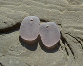 Genuine Sea Glass - Drilled Seaglass for Earrings - Lavender / Light Purple Beach Glass Beads