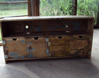 TV stand -Media Console - TV Cabinet - Wood Storage unit - Entertainment Center - distressed Primitive Reclaimed Barn Wood look Furniture
