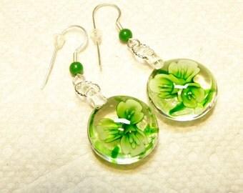 Shades of Glass Green Flower Earrings