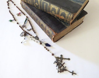 Long Charm Necklace, Rosary Beads, Medals and Lots of Crosses Handmade, Boho