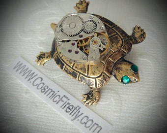 Steampunk Pin Brass Turtle Brooch Vintage Watch Movement Nautical Sea Life Jewelry Antiqued Brass Turtle Pin Handcrafted Jewelry GREEN EYES!