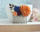 Orange, Blue, Burgundy, Ivory, Cobalt Navy Blue Brass Flower Hair Comb Orange Rose Comb Orange and Blue Wedding Bridesmaid Gift Wedding Comb