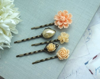 Peach Wedding Flower Hair Pins, Ivory Pearl Peach Flowers Wedding Hair Pins, Peach Hair Bobby Pins Set of five 5 Bridesmaid Hair Accessory