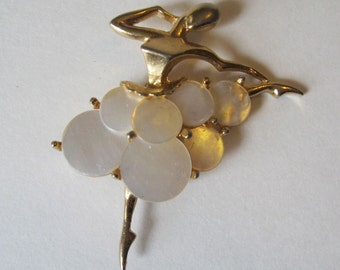 Stylized Ballerina Dancer Pin or Brooch Mother of Pearl Skirt Modernist Design