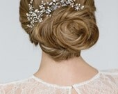 Wedding Hair Comb , Bridal  Hair Accessory , Floral Hair Comb  , Large Bridal  Silver Hair Comb, White Opal Swarovski Headpiece
