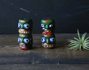 Vintage Hawaii Salt and Pepper Shakers Pacific Island Tribal Masks Vintage From Nowvintage on Etsy