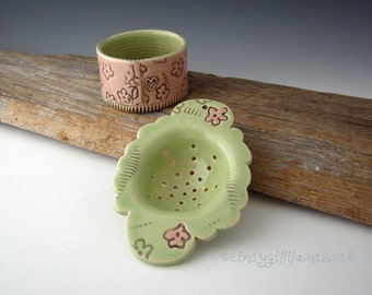Pottery Tea Strainer in Pink and Lime with Cute Flower Design - Tea Infuser - by DirtKicker Pottery