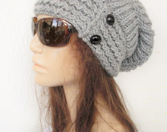 Womens  Knit Hat , Slouchy Hat  Winter Hat   Silver Gray  Slouchy Beanie Handmade Womens Beanie  Gift  for her Winter  accessories fashion