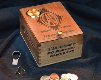 Desk Clock Valet box Cigar Box- No. 608.163