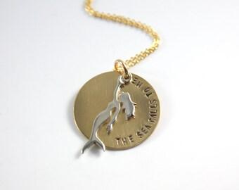 Mermaid Necklace - Gold Mermaid Necklace - Gold Silver Mermaid Necklace - The Sea Calls To Me Necklace - I'm Really A Mermaid Necklace     E