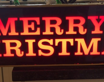 SaLe! VINTAGE MERRY CHRISTMAS Electrical Light Signage, Lighted Signs Illuminated Sign Shop Sign, Christmas Lights at A Vintage Revolution