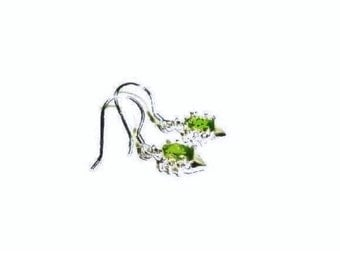 Peridot Gemstone  Earrings , Sterling Silver Ear Wires