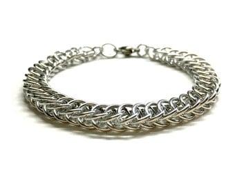 Silver Mens Bracelet. Mens Chain Bracelet. Chainmaille Jewelry. Silver Chainmail Bracelet. Unisex Bracelet. Half Persian 4 in 1 Bracelet.