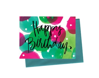 Happy Birthday Bubbles Greeting Card, Vintage-Inspired Hand-Typography and Watercolor Birthday Card in Pink, Green and Teal