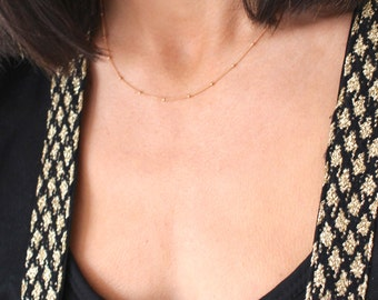 Rose Gold Satellite chain - fine rose gold chain layering necklace - gold filled