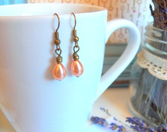 Sweetheart Earrings, Adorable Pearl Teardrops, Antique Brass Wire Wrapped Charms, Petite Pearl Jewelry, Handmade Jewelry Gifts by HoneyNest