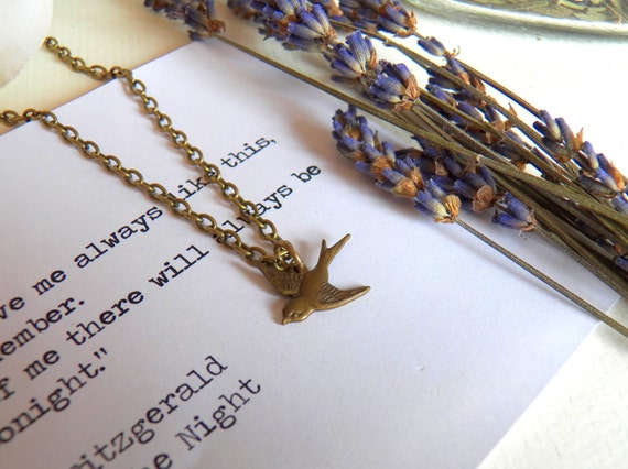 Vintage Style Bird Pendant Necklace, Antiqued Brass Chain, Sparrow Jewelry, Bird Jewelry, Bird Pendant, Handmade Jewelry Gifts by HoneyNest