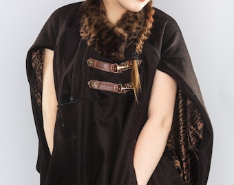 Medieval Wool Cape- Brown- Upcycled Leather and Fur Trim and Micro Chenille Lining- Burning Man, Festival, LARP, Forest