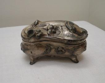 Vintage Ornate Silver Plated Jewelry Box - Jewelry Casket