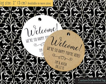welcome, we are so happy you are here tags, custom wedding tags, destination wedding, kraft tags, party favor, rustic tag (T-97)