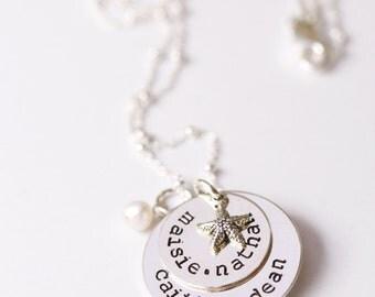 Grandmother Necklace, Nana Necklace, Grandkids Names, Starfish and Name Necklace, 5 Name Necklace, Grandma Necklace, Grandmother Gift, Names