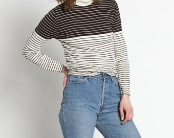 Vintage 60s Brown and White Striped Knit Turtleneck   S