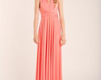Coral bridesmaid dress, pink bridesmaid dress, coral wedding, coral dress, salmon pink dress, coral long dress, peach infinity dress, coral