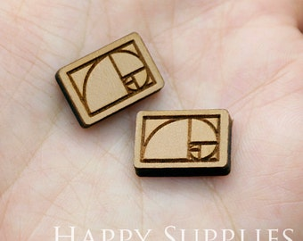 4pcs (SWC213) DIY Laser Cut Wooden Geometry Charms