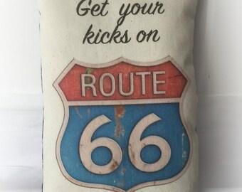 Route 66 Pillow   Accent pillow   USA decoration   Vacation souvenir   Red White Blue decor