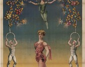 antique french victorian circus poster trapezist miss Zelia illustration digital download