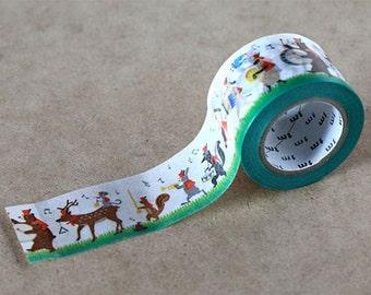 Music Band, Parade - Japanese Washi Paper Masking Tape - mt ex - Kawaii Animal Art - Scrapbook, Collage,  Card Decoration, Journal, MTEX1P89