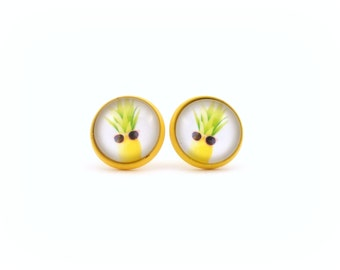Yellow Pineapple Earrings, Pineapple Jewelry, Fruit Earrings, Pineapple Wearing Sunglasses, Earrings for Teens, Gifts for Teen Girls
