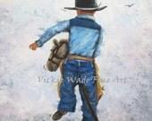 Little Cowboy Art Print, boys room, stick horse, cowboy boys room, little boy, western wall art, cowboy, boys nursery wall art, Vickie Wade